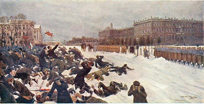 Расстрел рабочих у Зимнего дворца 9 (22) января 1905 года. Картина И. Владимирова