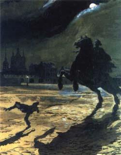иллюстрация Александра Бенуа к поэме Пушкина «Медный всадник»