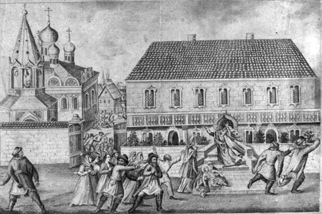 Убиение царевича Дмитрия в Угличе 15 мая 1591 г., лубок XIX века