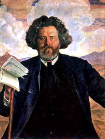 Кустодиев, портрет Волошина, 1924