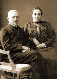 C.Ф. Платонов с женой Надеждой Николаевной Платоновой (урожд. Шамониной), 1915