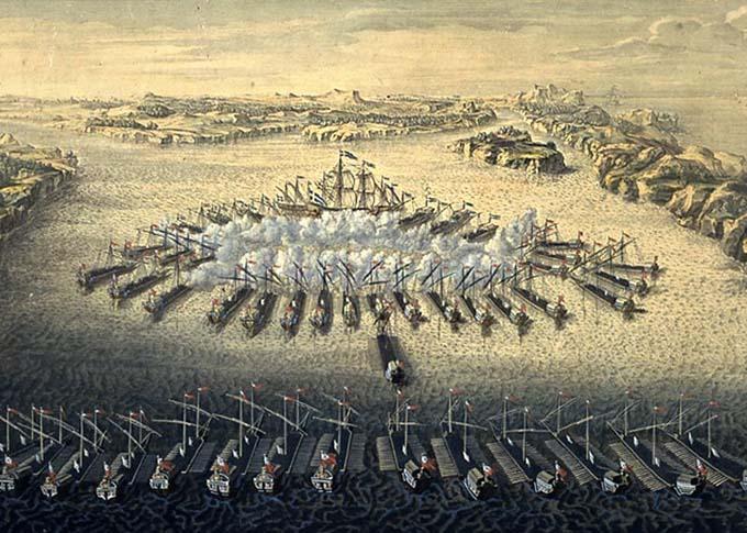 Гангутская баталия 27 июля 1714 года, гравюра Маврикия Бакуа