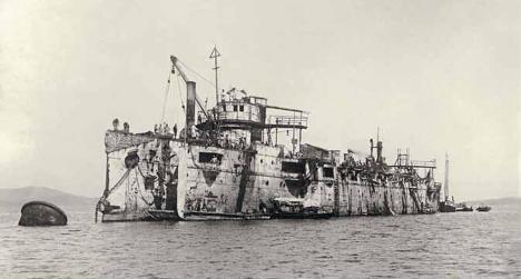 Крейсер «Варяг» после подъема в 1905 году
