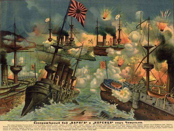 «Беспримерный бой «Варяга» и «Корейца» под Чемульпо». Плакат времен русско-японской войны 1904-1905 гг.