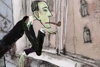 Кадр из мультфильма по произведениям Даниила Хармса «Хармониум», 2009 г., режиссер Дмитрий Лазарев