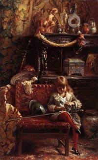 К.Е. Маковский, «Портрет сына в мастерской (Маленький антиквар)», 1882