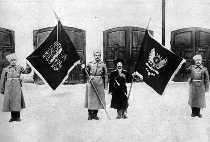 Трофейные турецкие знамена, захваченные в Эрзеруме