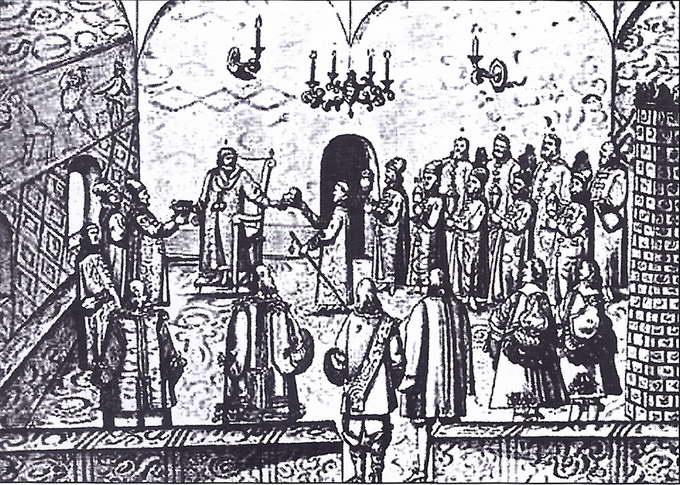 Прием императорского посла 24 апреля 1662 года. Рисунок из книги А. Мейерберга «Путешествие в Московию». XVII век