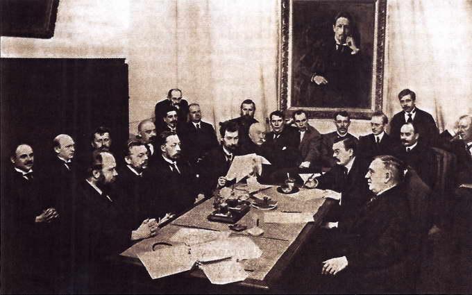 Заседание редакции газеты «Русское слово»