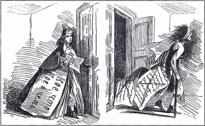 Карикатура Б. Аполлона «Искра». 1863 год. №34. Слева — статья до просмотра цензурой; справа — статья процензурированная