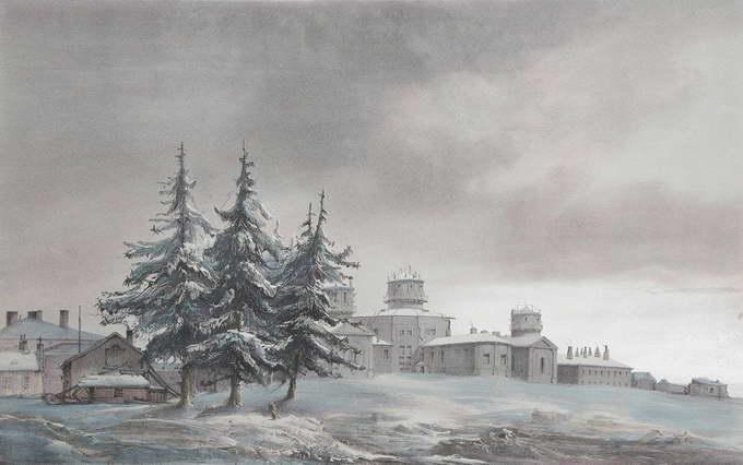 Вид на обсерваторию Пулково. Цветная литография. Франция, 1839