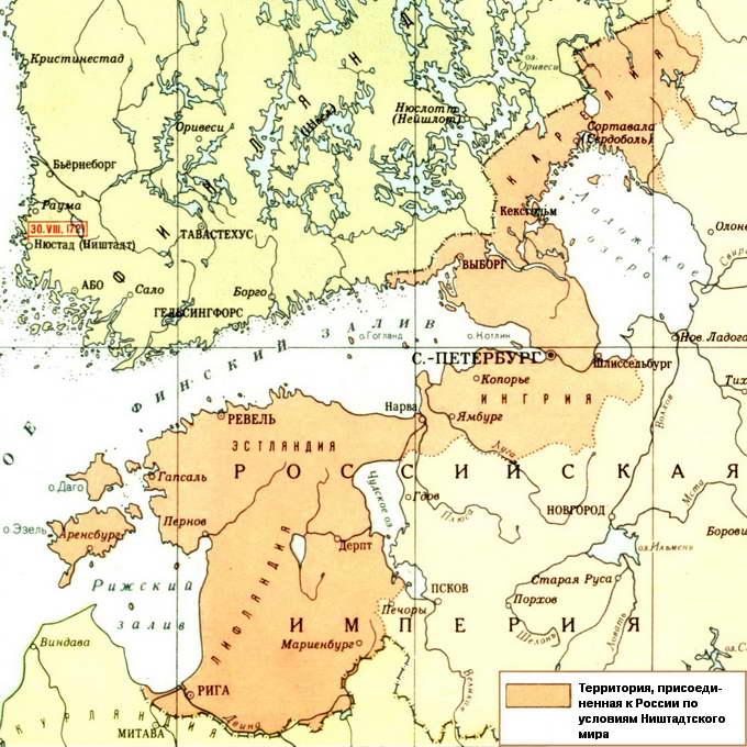 Территория, присоединенная к России по условиям Ништадтского мира
