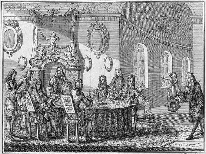 Подписание мирного договора в Ништадте 30 августа 1721 года. Гравюра Питера Шенка-младшего, 1721