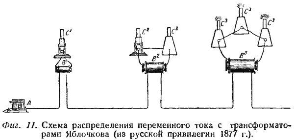Схема распределения переменного тока с трансформаторами Яблочкова