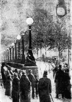 Освещение набережной р. Темзы в Лондоне свечами Яблочкова