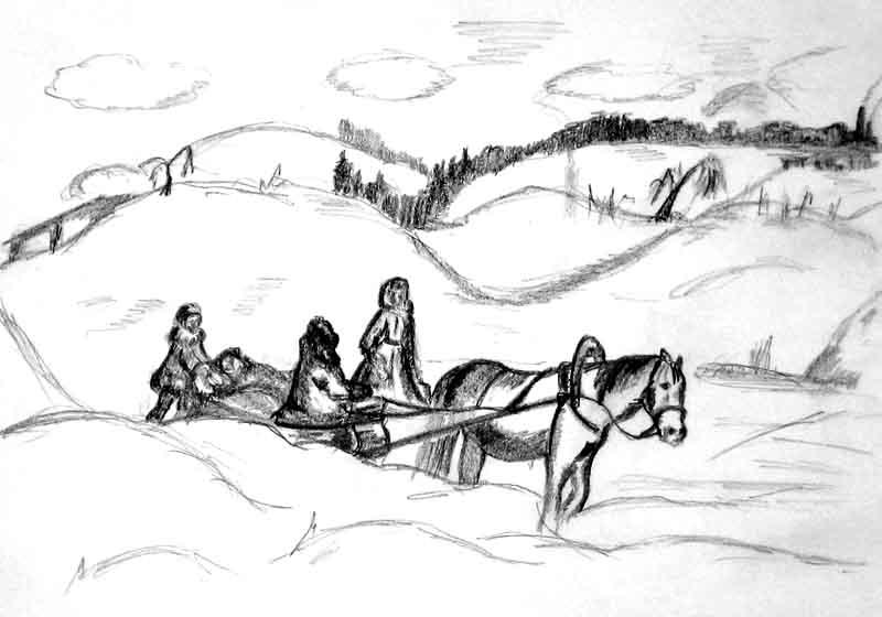 «Павушкин остров» - Дорога в Задольск, рисунок Елены Широковой